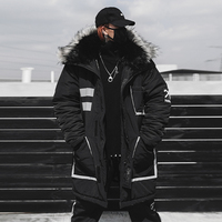 US Size Black Winter Thick Jacket Parkas Men Hooded Fur Collar Coats Parka Streetwear Mens Hip Hop Long Warm Coats DG175