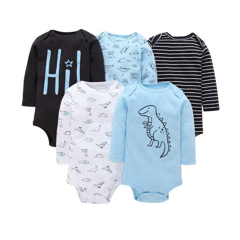 Teenster  Baby Bodysuit 5pcs Autumn Long Sleeve Kids Clothes Newborn Twins Bodysuits Infant Girl Boy Clothes 3 6 9 12 18 M