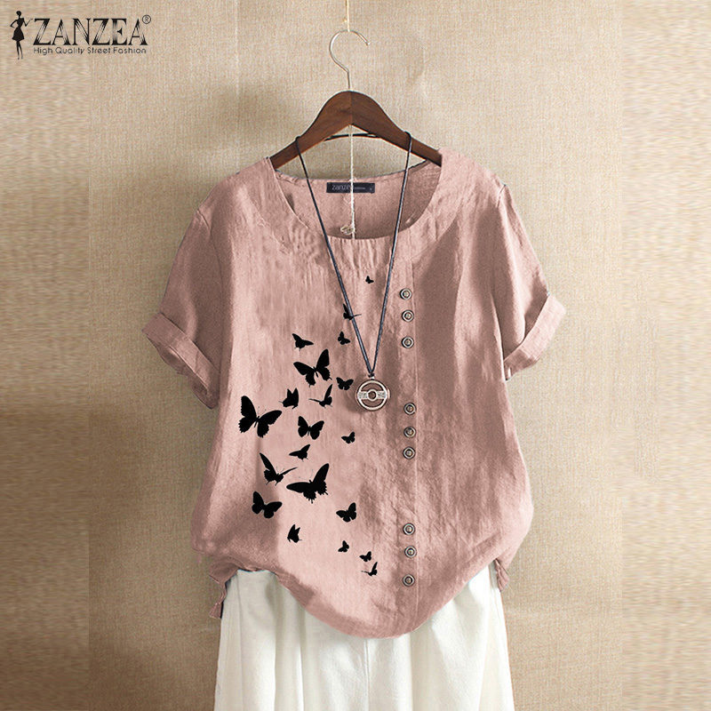 Vintage Women's Printed Blouse 2020 ZANZEA Elegant Summer Tee Shirts Button Cotton Blusa Female Short Sleeve Tunic Plus Size 5XL