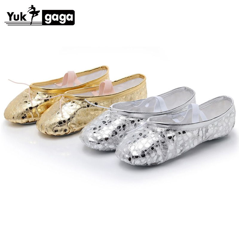 New Gold Silver Kids Dance Slippers Soft Sole PU Ballet Point Shoes Girls Women Children Ballet Slippers