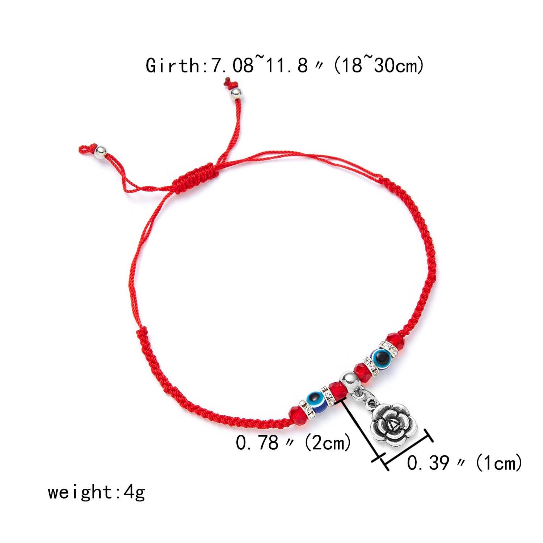 9 стилей плетеная красная нить на удачу Хамса браслет с подвесками на руку синий бисер, от сглаза браслет мода дружбы ювелирные изделия для женщин мужчин - Окраска металла: flower