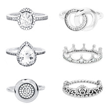 Special offer Genuine 925 Sterling Silver 12 Styles Fashion Cubic Zirconia Princess Tiara Crown Rings for Women Engagement