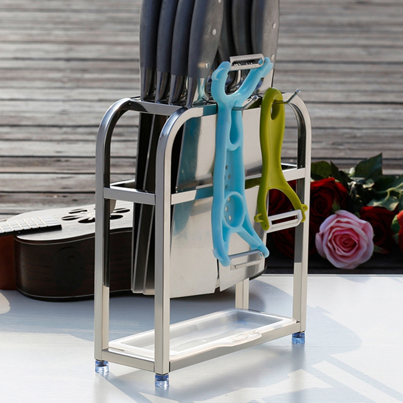 Stainless Steel Kitchen Knife Holder Multifunctional Storage Organizer Knife Rack Stand Metal Knife Block Cooking Tool