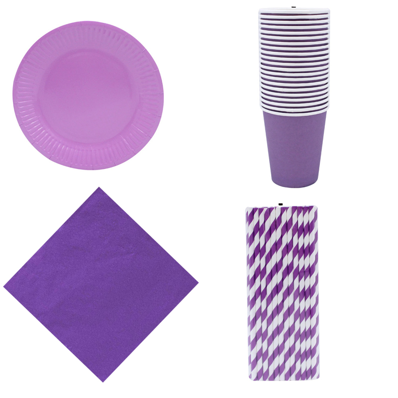 Event Party Supplies Solid Purple Disposable Tableware Napkins Anniversary Birthday Party Cups Straws Plates For Girl Favor