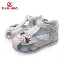 FLAMINGO 2021 Kids Sandals Hook& Loop Flat Arched Design Chlid Casual Princess Shoes Size 21-26 For Girls 201S-HL-1745