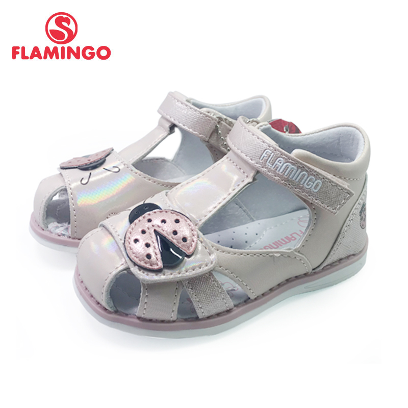 FLAMINGO Kids Sandals Hook& Loop Flat Arched Design Chlid Casual Princess Shoes Size 21-26 For Girls 201S-HL-1745
