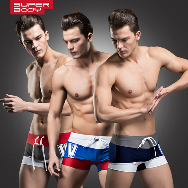 Superbody Men AussieBum Fashion Chinlon With Drawstring Bathing Suit Men's Mixed Colors Large Size Swimming Trunks