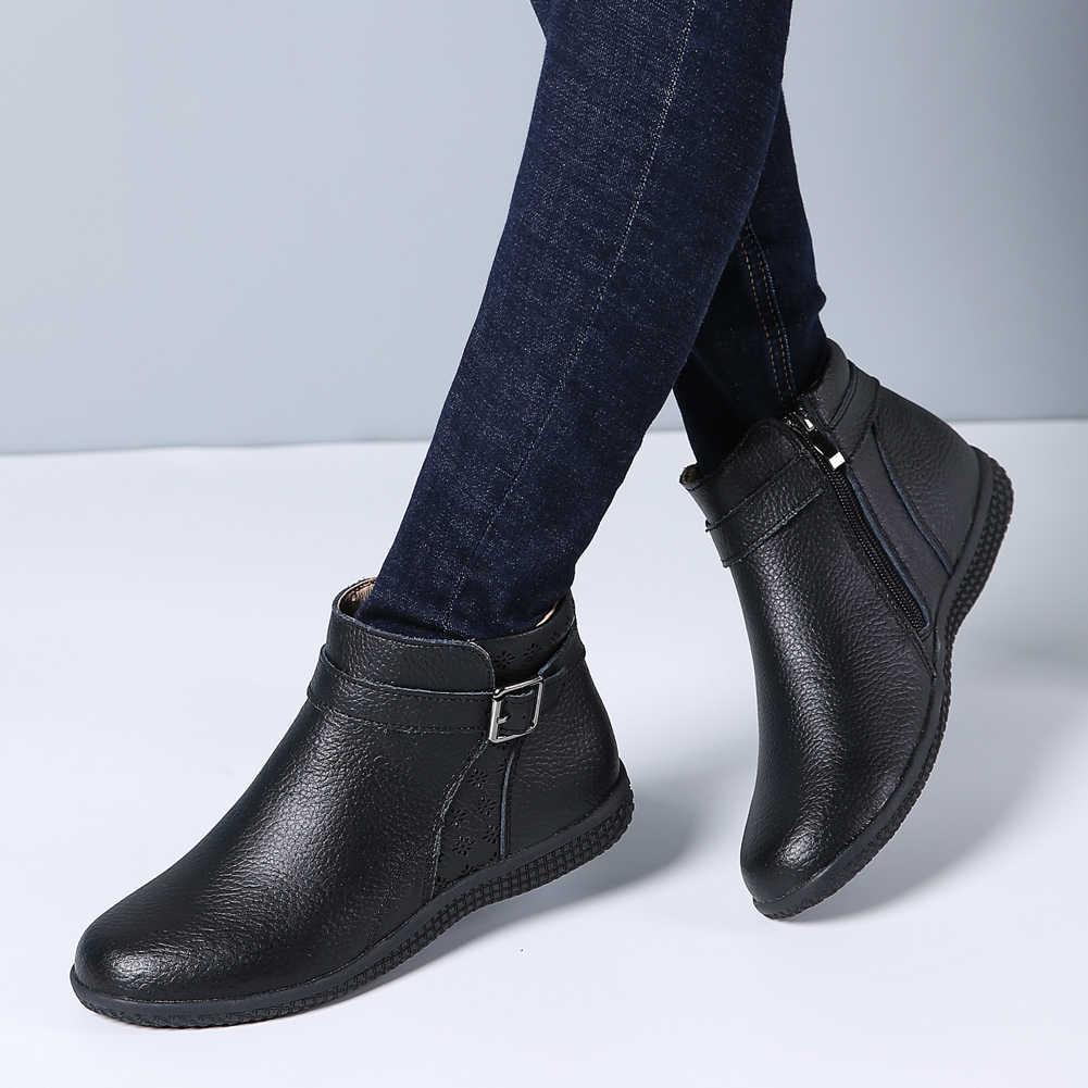 אביב נשים חורף מגפי שלג נעלי עור אמיתי להחליק על נשים צ 'לסי קרסול מגפיים שטוח נעלי אתחול קצר גבירותיי סתיו מגפיים