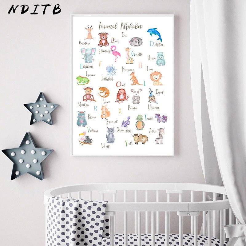 Hayvan alfabe kreş çocuk posteri duvar sanatı tuval baskı aydınlanma boyama Nordic çocuk bebek odası dekorasyon resim