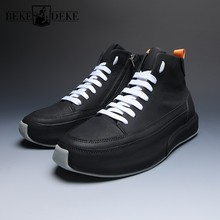 Brand Fashion Men Casual High Top Genuine Leather S
