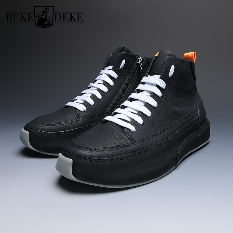 Brand Fashion Men Casual High Top Genuine Leather Shoes Thick Platform Joggers Sneakers Lace Up Outside Trainers Tenis Masculino