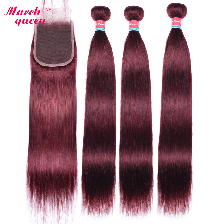March Queen #99J Straight Bundles With Closure Red Wine Color Burmese Human Hair With 3 Pieces With 4
