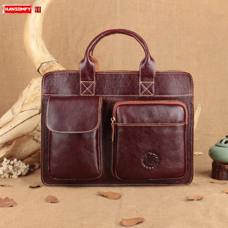 Retro First Layer Of Leather Women Handbag , Personalized Business Briefcase, Female Portable Crossbody Computer Bag Red Brown