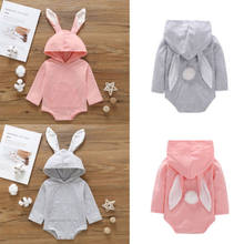 2019 Baby Girl summer cute clothing Bunny Jumpsuit hoodie Bodysuit Rabbit Ear pink Blue for Kid clothes Children newborn infant(China)