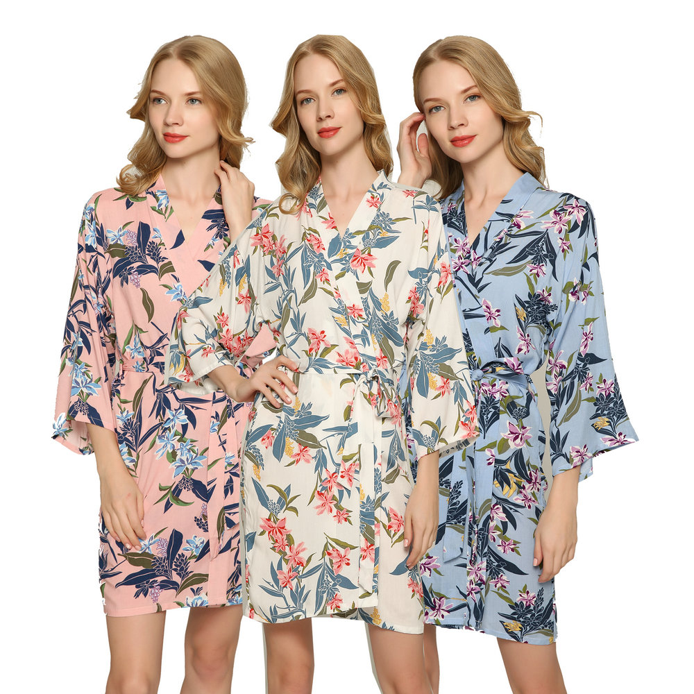 Personalised Wedding Robe Dressing Gown Multiple Pack in NEW Floral Design Bride