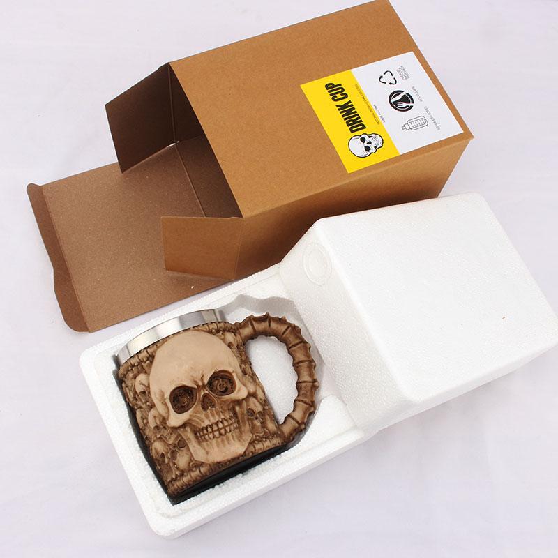 Criativo copo de café leite personalidade copo aço inoxidável grande capacidade escritório copo água 3d estéreo crânio caneca - 4