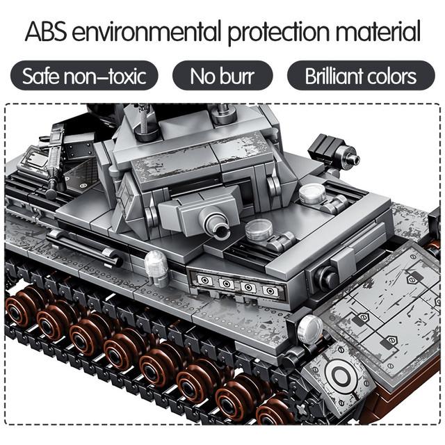 596PCS City Military Series Building Blocks WW2 Weapons Steel Empire-German Technic Tank Soldier Figures Bricks Toys For Boys