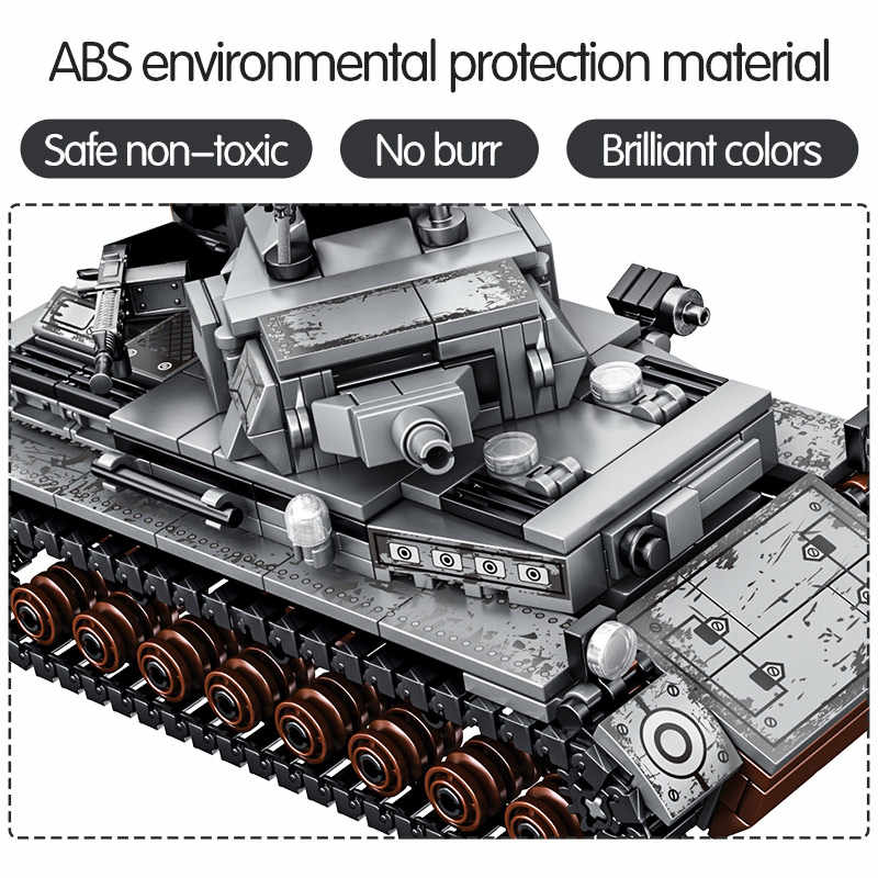 596PCS City Military Series บล็อกอาคาร WW2 อาวุธจักรวรรดิเหล็ก-เยอรมัน Technic TANK ทหารอิฐของเล่นชาย