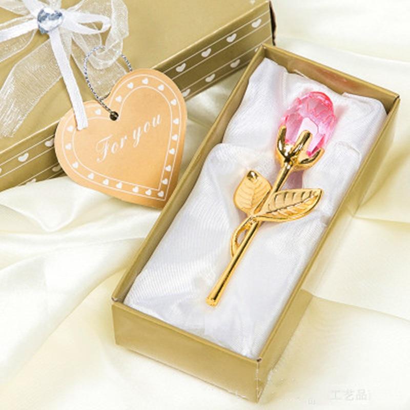 Мини Хрустальный цветок розы искусственный кристалл роза с металлическим стержнем цветок ветка год Свадьба Вечеринка Сувениры День Святого Валентина подарок - Цвет: pink golden