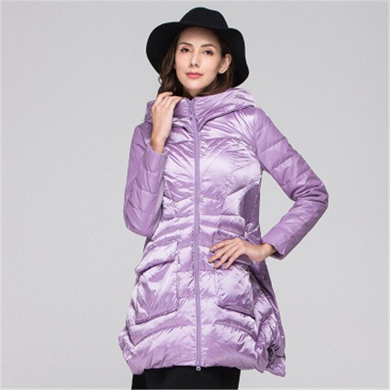 2019 nueva chaqueta de invierno para mujer de sección larga de moda salvaje con capucha de gran oscilación de chaqueta de cintura delgada 4