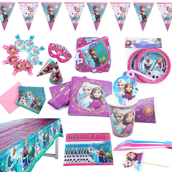 Disney Frozen Anna and Elsa Princess Birthday Party Decorations Kids Disposable Tableware Supplies - discount item  36% OFF Festive & Party Supplies
