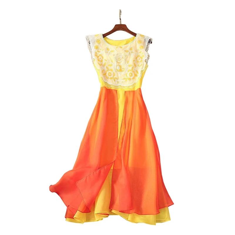 Women Fashion O-Neck Sleeveless High Waist Floral Chiffon Dress for Party 20type