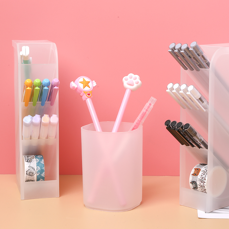 1 Pcs Simple Pen Holder Transparent Scrub Desk Organizer Stationery Pencil Storage School Office Supplies Desk Accessories