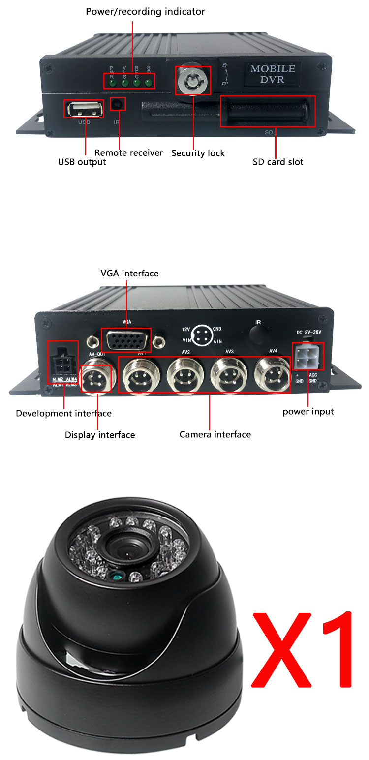 HYFMDVR 4CH multi-linguagem de monitoramento independente de