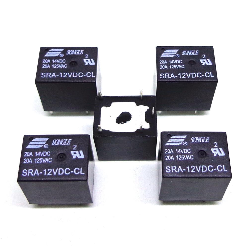 10pcs 12V SRA-12VDC-CL 20A 125VAC SONGLE Relay 5Pins