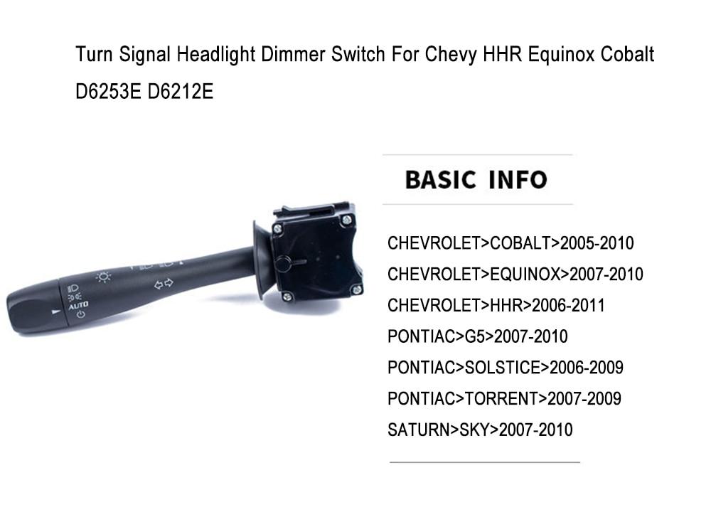 Turn Signal Headlight Dimmer Switch for Chevy HHR Equinox Cobalt D6253E D6212E