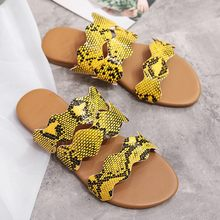 Summer Shoes Women Sandals Snake Grain Floral Sandals Flat With Summer Slides Slipper Shoes Zapatos De Mujer Sandalia Feminina(China)