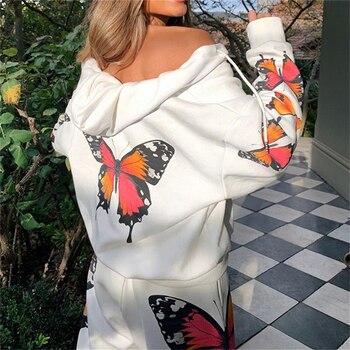 Hot Sale Ladies Streetwear Women Fashion Butterfly Printed Tops Women Elastic Coat For Female