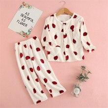 Autumn Winter Kids Flannel Velvet Pajamas Sets For Baby Girls Boys Cartoon Sleepwear Warm Plush Children Nightclothes 2-13 Years