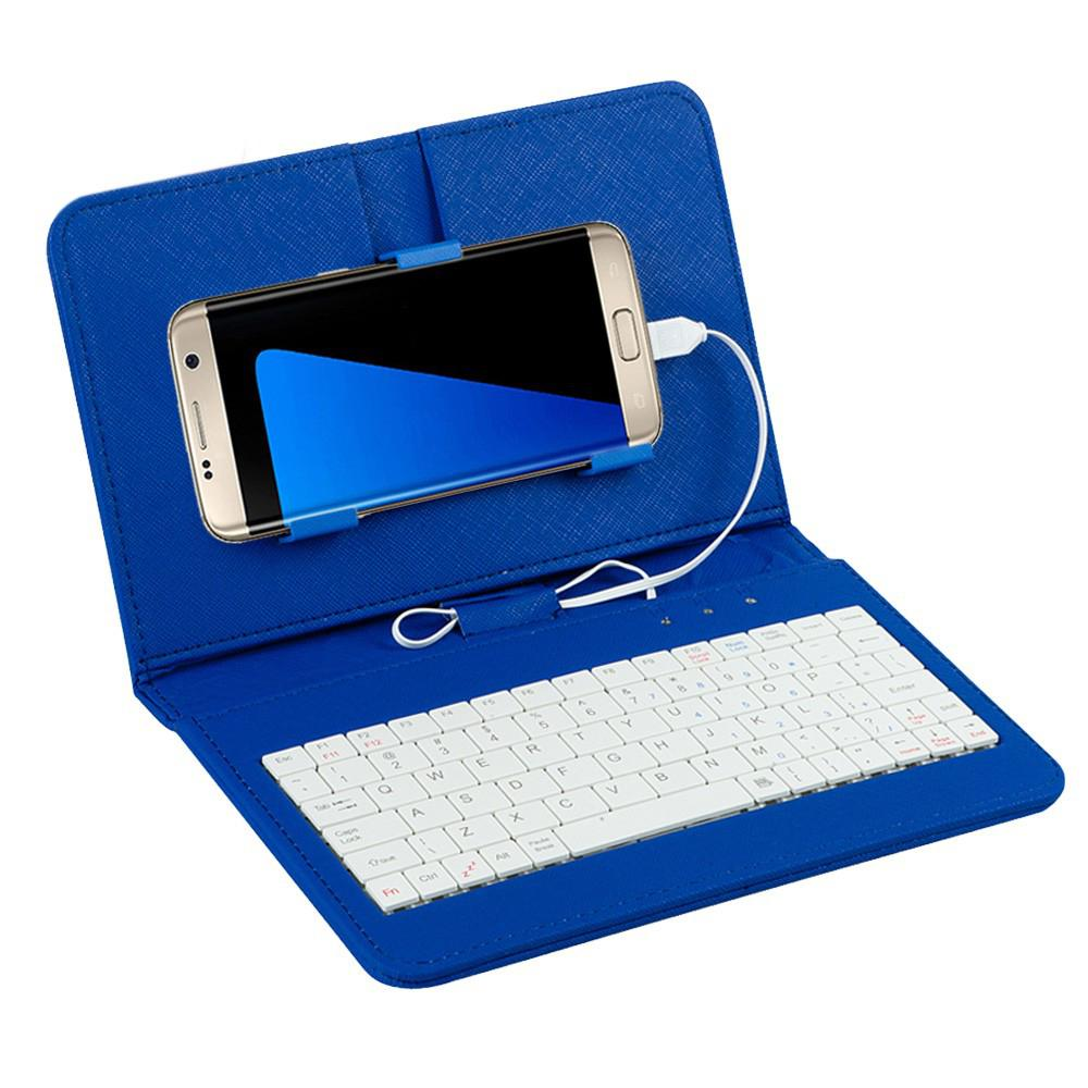 """Kuulee General Wired Keyboard Flip Holster Case For 4.8-6.0"""" Mobile Phone Table Stand Protective PU Case"""