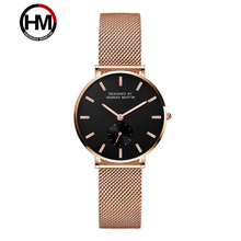 Hannah Martin TOP Luxurt ยี่ห้อ Rose Gold สแตนเลสนาฬิกาข้อมือสตรีนาฬิกาควอตซ์นาฬิกาสุภาพสตรี Ultra Thin นาฬิกา reloj mujer