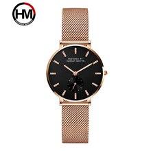 Hannah Martin Top Luxurt Brand Rose Gold Stainless Steel Wristwatches Womens Quartz Watch Ladies Ultra Thin Clock reloj mujer