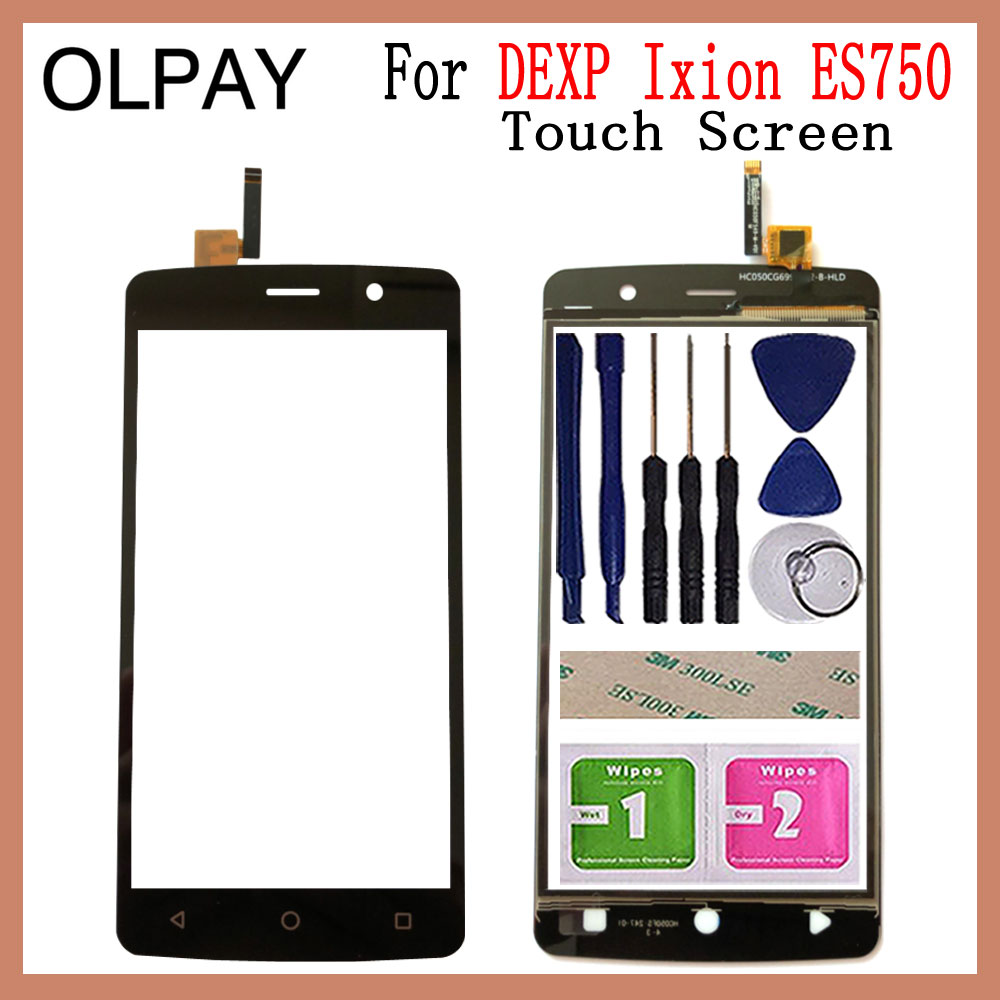 Mobile Touch Screen Glass 5.0'' Inch For DEXP Ixion ES750 Touch Screen Digitizer Panel Fornt Glass Sensor Free Adhesive+Wipes