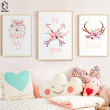 Tribe Woodland Canvas Art Poster Dream Big Flower Nursery Print Painting Decorative Picture Nordic Kids Bedroom Decor