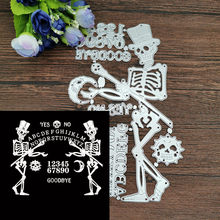 Natal Halloween Tengkorak Gambar 26 Alfanumerik Foto Metal Cutting Dies Craft Perangko Die Cut Embossing Kartu Membuat Stensil(China)