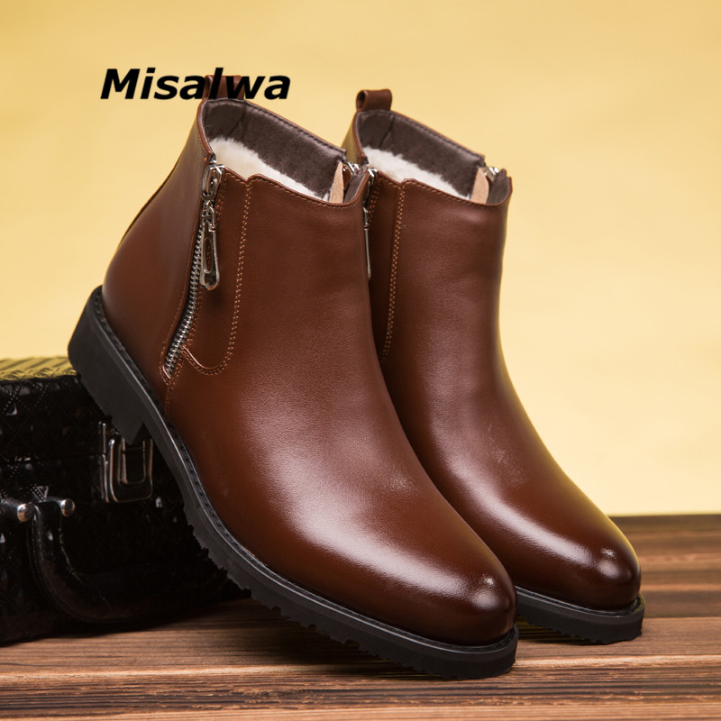 Misalwa Winter Boots For Men Chelsea Boots Pointed Toe Zip Business Male Sewing Solid Vintage Short Boots Warm Plush Casual Shoe