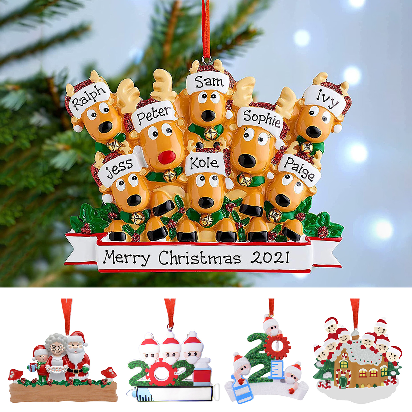 Personalised Family Christmas Xmas Tree Bauble Decoration Ornament Elk Deer Family 2021 Christmas Holiday Decor (no lettering)