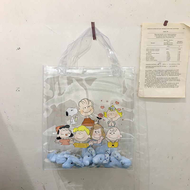 Women Cartoon Transparent Handbag INS Popular Designer Fashion Lady Large Capacity Handle Bag Travel Shopping Package SS3564