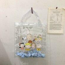 Women Cartoon Transparent Handbag INS Popular Designer Fashion Lady Large Capacity Handle Bag Travel Shopping Package SS3564