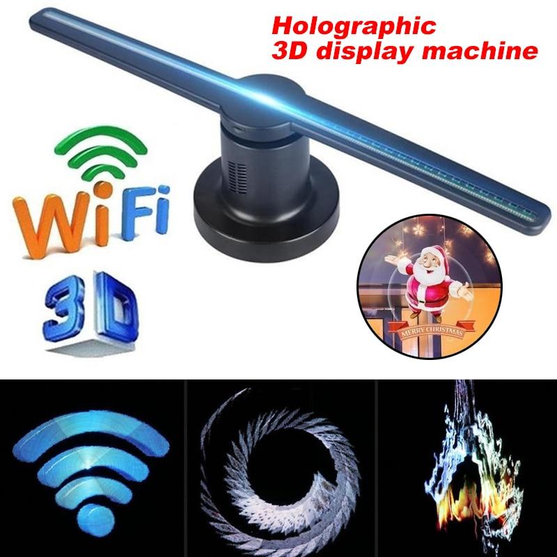 Holographique partie 3D hologramme affichage projecteur ventilateur 3D hologramme projecteur ventilateur drôle 42cm magasin signes lampe publicité Wifi