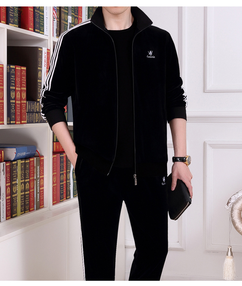 Middle-aged Sports Set Men Two-Piece Set Jogging Suits Middle-aged Loose Casual Sweat Absorbing Breathable Long Sleeve Daddy Clo