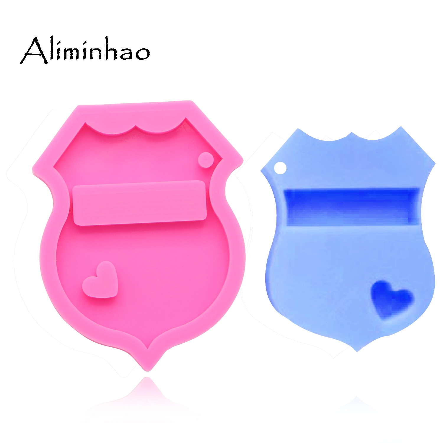 DY0083 Shiny Police Badge Keychains Mold Key Chain Pendant Clay DIY Jewelry Making Epoxy Silicone Resin Mold