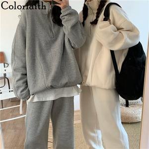 Colorfaith 2019 New Autumn Winter Woman Sets Two Piece Set Tracksuit Sporty Pullovers Pants Wear Knitting Joggers WS8576