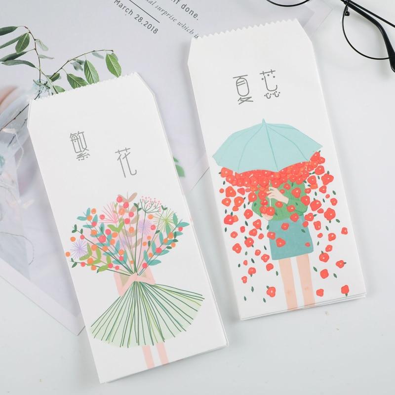 20 Pcs/lot Creative Girl Flower Design Envelope Paper Colorful Floral Gift Envelopes For Student Letter Card Holiday Stationery