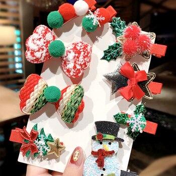 5 Pieces Set Merry Christmas Girls Cute Santa Claus Snowman Hairpin Hair Clip 4