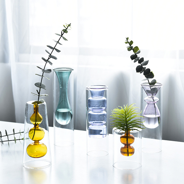 Strongwell Nordic Double-layer Stained Glass Vase Hydroponic Flower Vase Home Decoration Home Desktop Decoration Ornaments 3